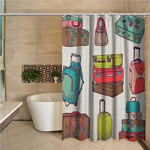 Long Shower Curtain Doodle Colorful Suitcases Holiday Inspired Design Travelling Abroad Vintage Style Artwork Multicolor