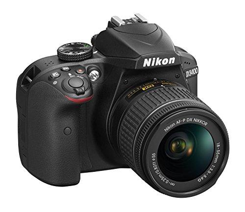 Nikon D3400Cámara réflex digital con objetivo Nikkor AF-P 18/55vr, 24,7Mpx, LCD 3, SD de 8GB 300x Lexar Premium, Negro [nital Card: 4años de garantía]