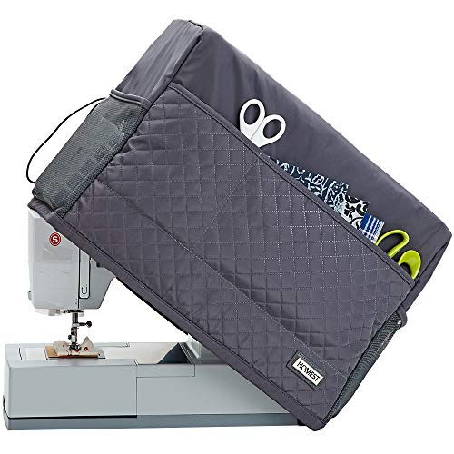 HOMEST Quilted Sewing Machine Dust Cover with Storage Pockets, Compatible with Most Standard Singer and Brother Machines, Dark Grey (Patent Design)