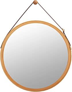 Domax Bathroom Mirror Wall Mount - 15 inch Bamboo Frame Hanging Strap Round Bedroom Dressing Mirror Hook Offered Natural Rustic(Bamboo, 14.96''x14.96''x0.59'')