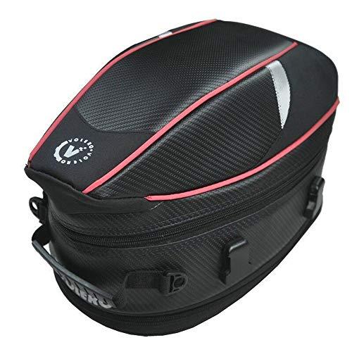 バイク用 シートバッグ ヘルメット 拡張機能あり 防水 ヘルメットバッグ 固定ベルト付き 耐久性 多機能 炭素繊維 手提げ 大容量(赤)