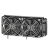 Clyxgs Water Cooling Radiator, 12 Pipe Aluminum Heat Exchanger Cooling Water Drain Row with Fan Radiator for Computer PC CPU CO2 Laser Water Cool System