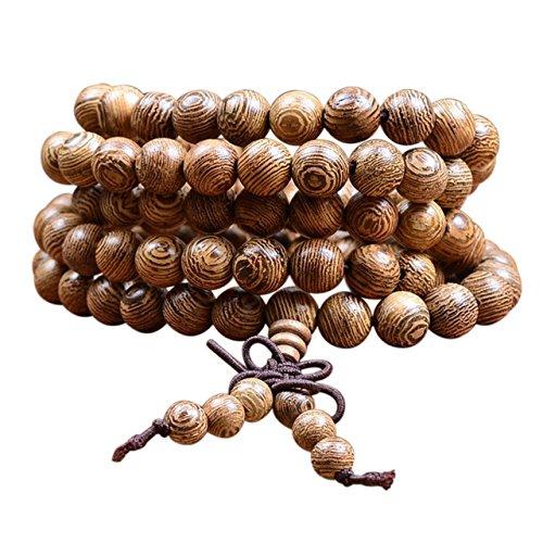 ecom delivery® ⭐⭐⭐⭐⭐ Tibetisches Armband | Holzarmband buddhistische Gebetskette | Buddha Armband Mala mit 108 Holzperlen Perlenarmband