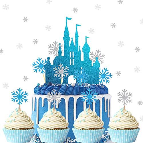 ENSTAB 25 Stück Schloss Schneeflocke Blau Weiß Tortendeko mit Schneeflocke Konfetti Weiß Silber für Geburtstag Tortendeko Mädchen Weihnachten Kuchendeko