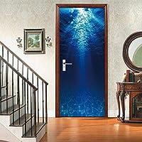 3Dドア壁画アートステッカー 海底3Dドアステッカーリフォームドア家の装飾ドアポスター