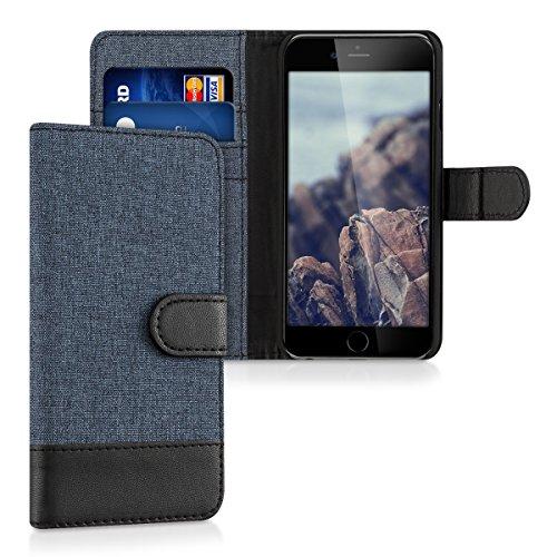 kwmobile Funda Compatible con Apple iPhone 6 / 6S - Carcasa de Tela y Cuero sintético Tarjetero Azul Oscuro/Negro