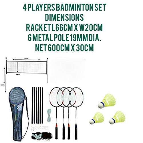 ADEPTNA 4 Player Complete Badminton Racket Set With Shuttlecock Size Metal Pole – One Net – Two Ropes And a Carry Bag - Ideal for Family Outdoor Garden Games