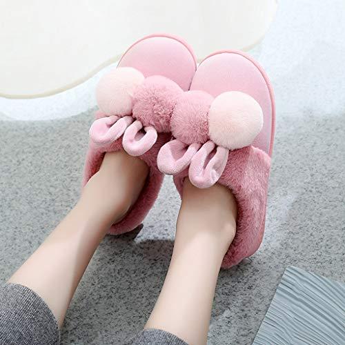 Zapatillas de casa zapatillas de algodón pareja de mujeres de invierno zapatillas de casa hogar gruesos zapatos calientes inferiores hombres zapatillas CáLido Zapatillas ( Color : D , Size : 38-39 )