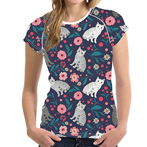 SLYZ Camiseta De Manga Corta con Estampado Digital De Verano para Mujer, Blusa De Todo Fósforo con Cuello Redondo Y Delgado para Mujer