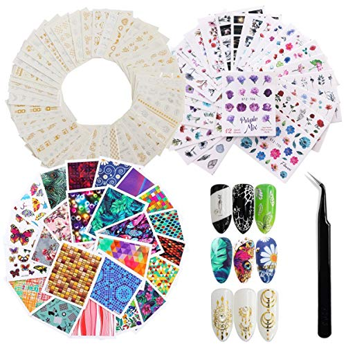 78 Sheets 1000 Pieces Patterns Water Transfers Nail Art Stickers, Self Adhesive Butterfly Flower Nail Art Decals with Tweezer for Women Girls Gel Nails Art Design