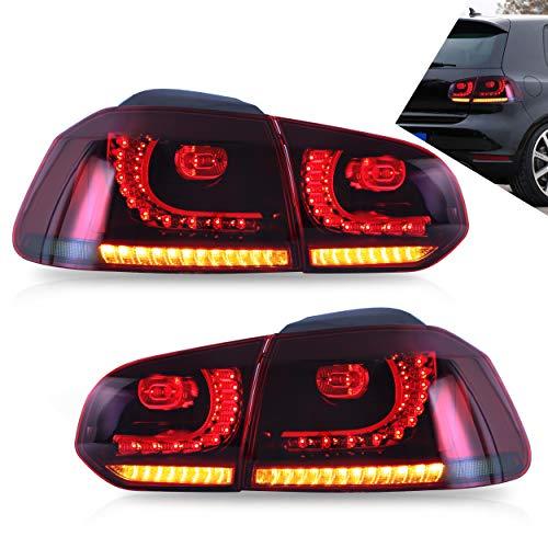 VLAND RHD LED-Rücklichter für Golf 6 MK6 2008–2013 LED-Rücklichter mit Blinker-Sequenzanzeige Rotes Rauchglas - Europäisches glattes Haar. Lieferung innerhalb von 2 bis 5 Tagen