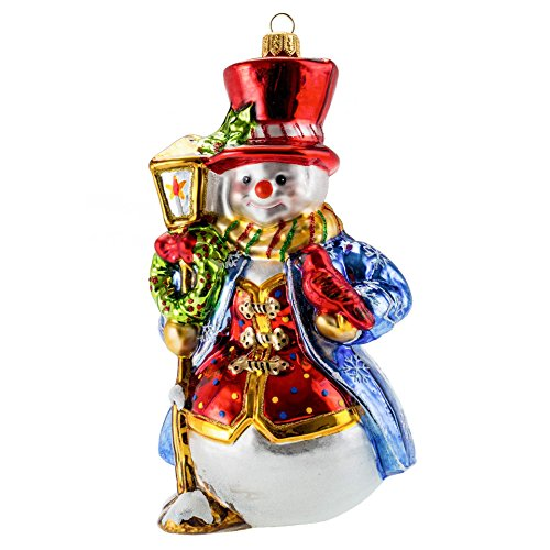 Miss Christmas 2020 Collection Fancy Snowman Blown Glass Christmas Tree Ornament (Snowman in Blue Coat)