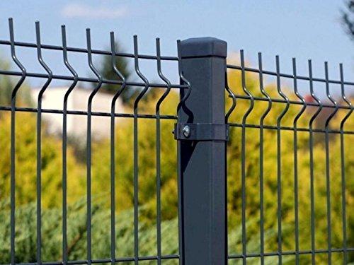 Stabgitterzaun 3D | Gartenzaun | Komplettset | 123cm hoch | Verzinkt und Pulverbeschichtet (20m, Anthrazit (RAL 7016))