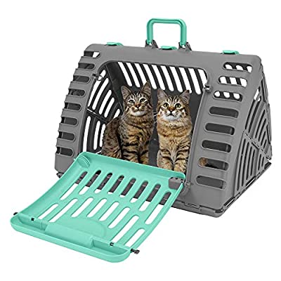 SportPet Designs X-Large Foldable Travel Cat Carrier - Front Door Plastic Collapsible Carrier