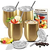 LOADEDSPOON stainless steel wine tumbler set stemless with lid and straws gold 4 pack, FREE e-book, stainless steel wine glasses, leak proof, coffee, cocktails, camping, gift, travel, unbreakable
