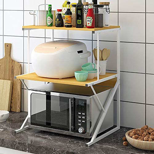 YaGFeng Estante De Carro De Microondas Nivel 3 Microondas Horno Cocina Rack estanterías de Madera con Spice Rack La Mejor Opción para La Colección De Cocinas (Color : Light Beige, Size : 54x37x69cm)