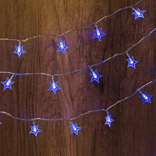 Twinkle Star 100 LED 49 FT Star String Lights, Plug in Fairy String Lights Waterproof, Extendable for Indoor, Outdoor, Ramadan, Wedding Party, Christmas Tree, New Year, Garden Decoration, Blue