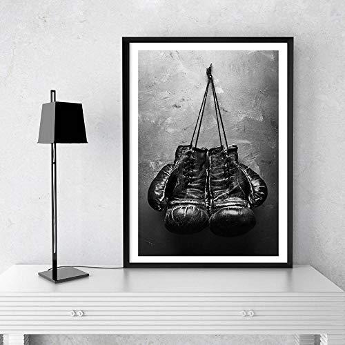 YTPC Vintage Schwarz Weiß Wandkunst Boxhandschuhe Foto Poster Leinwand Malerei Bild Sport Drucke für Wohnzimmer Home Wall Decor-60x80cmx1 pcs kein Rahmen