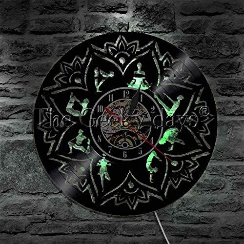 KDBWYC Yoga Mandala Reloj Chakra Luz Decoración de la habitación Surya Namaskara Disco de Vinilo Reloj de Pared Meditación Iluminación del Estado de ánimo