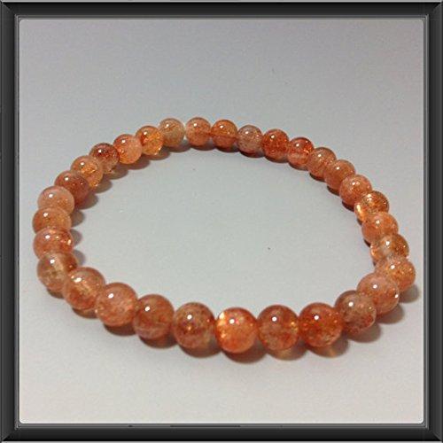LOVEKUSH Pulsera redonda de piedra de sol naranja elástica de 6 mm, para hombres, mujeres, gf, bf y adultos.