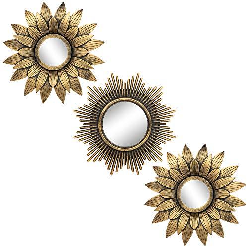 Pequeños Espejos Redondos para decoración de Pared Set de 3 – Accesorios para el hogar para Dormitorio, Sala de Estar y Comedor (BM012)