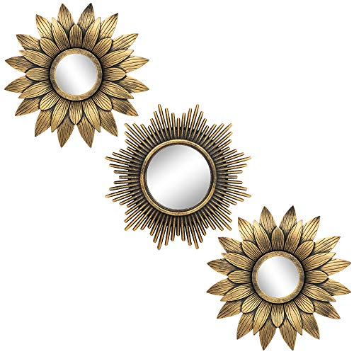 Small Round Mirrors for Wall Decor Set of 3 - Great Home Accessories for Bedroom, Living Room & Dinning Room (M012)