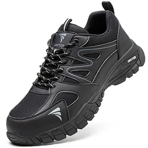 YISIQ Zapatos de Seguridad Hombre Mujer Punta de Acero Zapatos Ligero Zapatos de Trabajo Respirable Botas de Seguridad Zapatos de Industria y Construcción, Negro, EU 43