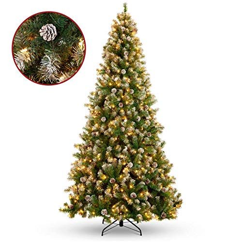 Christmas Decor 9ft Pre-Lit Pre-Decorated Christmas Tree w/Flocked Tips, Pine Cones, Berries