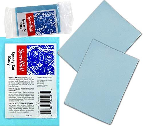 Flexi-Soft Blue Cut Linoblock Speedy Carving Easy Pack Create & Print Artist Printmaking (10,2 x 15,2 cm)