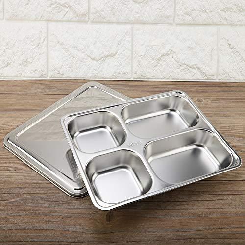 Presente románticoBandeja de comida, Bandeja de comida, bandeja de servir, espesa, apta para lavavajillas con tapa, 4 rejillas, vajilla de acero inoxidable reutilizable para comedor en casa, estud