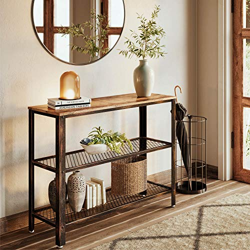 Rolanstar Console Table, Rustic Sofa Table with 2 Mesh Shelves, Entryway Table with Retro Metal Frame, for Entryway Living Room