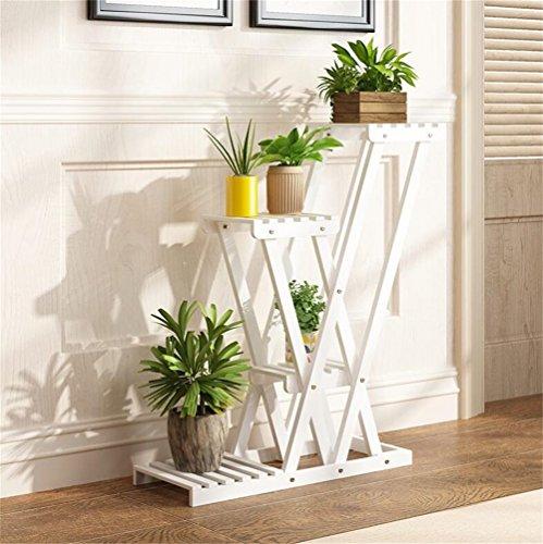 Support de fleur de salon en bois massif blanc Support de plante en pot simple de style européen