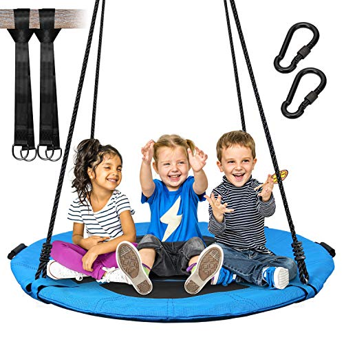 Vanku 300 KG Saucer Tree Swing for Kids Adults 40 Inch Textliene Wear- Resistant Waterproof Frame Includes 2 Tree Hanging Straps