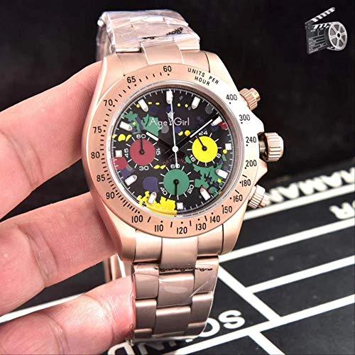UEJDB Clásico Nuevo Japonés Plata Rosa Oro Negro Caucho Inoxidable Hombres Relojes Cronógrafo Zafiro Cerámica Bisel Baguette 3
