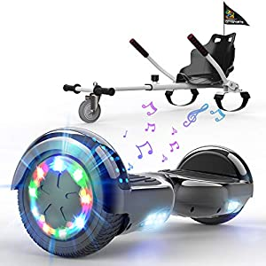 HITWAY Hoverboard de Overboard 6.5 Pulgadas y Hoverkart, Patinete Eléctrico Auto Equilibrio con Hoverkart, Scooter Eléctrico Bluetooth Asiento Kart, Self Balancing Scooter con LED, Regalo para Niños