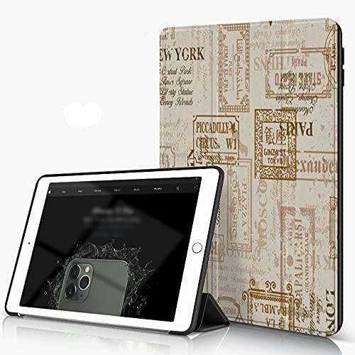 Carcasa para iPad 10.2 Inch, iPad Air 7.ª Generación ,Berlín York Vintage Servilleta Calle Patrón Moda París Belleza Roma Carretera Señal ,incluye soporte magnético y funda para dormir/despertar