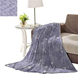 ERshuo Flower,Bed Blanket Lightweight and Breathable Classic Baroque Effects Rose Lightweight Soft Warm W70 XL80 48x60IN