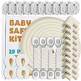 Locn 29 Piezas Kit Seguridad Bebe, 10 Protectores Esquinas Bebes, 10 Seguridad Enchufes Bebes, 5 M Protector de Esquinas y Bordes,4 Seguridad Puertas Niños, 4 Cierres Seguridad Bebe