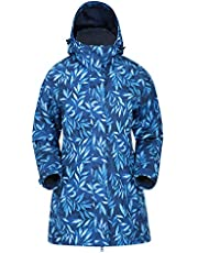 Mountain Warehouse Chaqueta Larga Impermeable Omega para Mujer - Ligera y Estampada - Transpirable, con Costuras Selladas y Ajustable - para Verano, Senderismo y Viajes