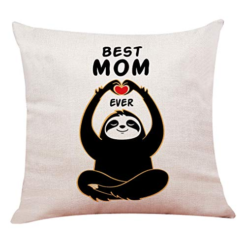 """yuzi-n Sloth Pillow Covers, Best Mom Ever Pillow Case Cushion Cover for Sofa Couch Decor 18""""x 18""""Inch, Mother Birthday, Mother Gift"""