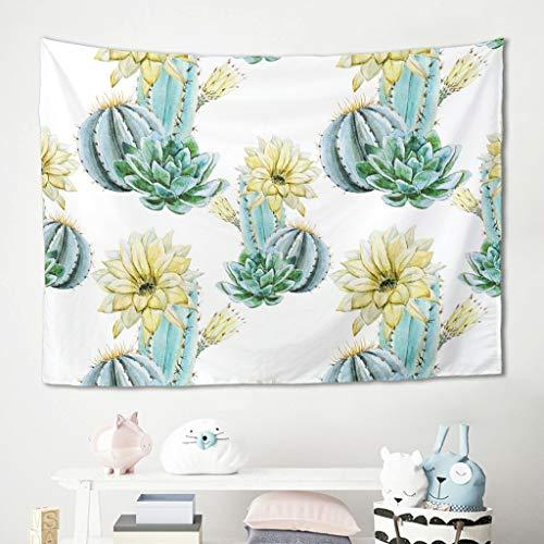 Niersensea Tapiz de pared para colgar en la pared, diseño de flores amarillas y cactus, para picnic, playa, mantel, salón, dormitorio, decoración de pared, color blanco, 230 x 150 cm