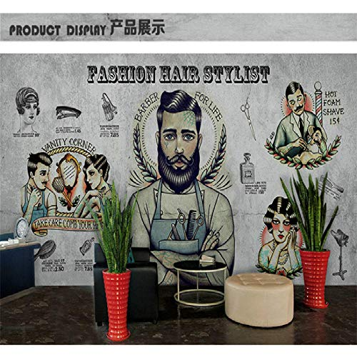 Mbwlkj Personalizado Personalizado Barber Shop Mural Wall Paper 3D Hair Salon Makeup Store Gran Fondo De Pared De Cemento Gris-350Cmx245Cm