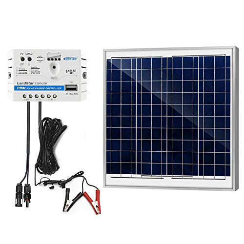 ACOPOWER 60W 5A Solar Charge Kit, 12V 60W Polycrystalline Solar Panel & 5A Charge Controller for RV, Boats, Camping; w USB 5V Output as Phone Charger (60W 5A Kit)