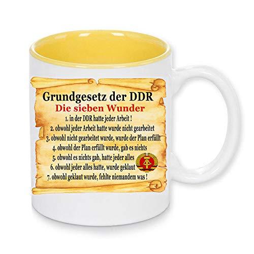 Handmade by GmH Kaffeebecher DDR Grundgesetz und DDR Zeitangaben Ostalgie rundum Bedruckt