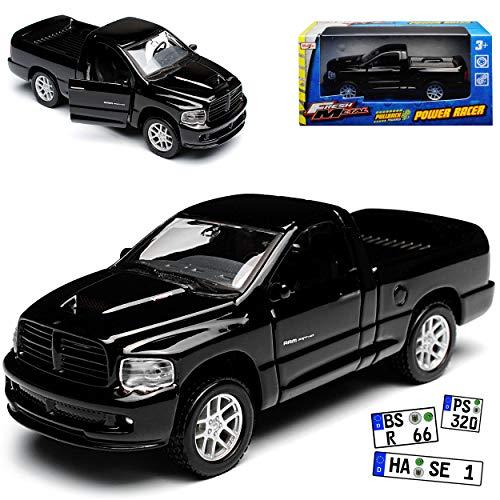 Maisto Dodge Ram SRT -10 Pick Up Schwarz 3. Generation 2002-2009 mit Rückzugsmotor ca 1/43 1/36-1/46 Modell Auto mit individiuellem Wunschkennzeichen