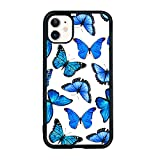 Blue Butterfly Cell Phone Case for iPhone 11 6.1 Inch - Shockproof Protective Cute Cool Flower Butterflies Phone Case Designed for iPhone 11 Case for Girls Teens Women Blue White