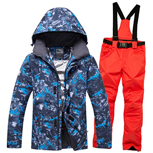 JXS-Outdoor Herren wasserdichte Ski-Kleidung - Winddichtes Ski & Snowboard Jacke und Latzhose Anzug,Orange,L