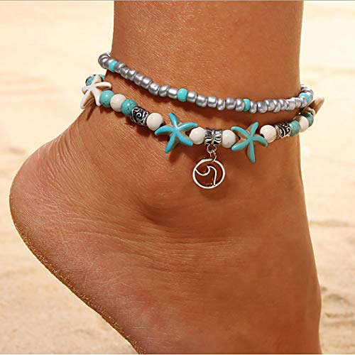Abien Boho Starfish Anklet Bracelet Silver Layered Turquoise and Beaded Ankle Chain Wave Pendant Foot Jewelry for Women and Girls