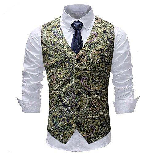 UJUNAOR Mode Männer Weste für Hochzeit ärmellose Gedruckte Jacken Bluse