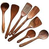 Camisin Utensilios de cocina de madera, herramientas de cocina de madera natural antiadherente, espátulas y cucharas, cucharas de madera para cocinar 7 piezas